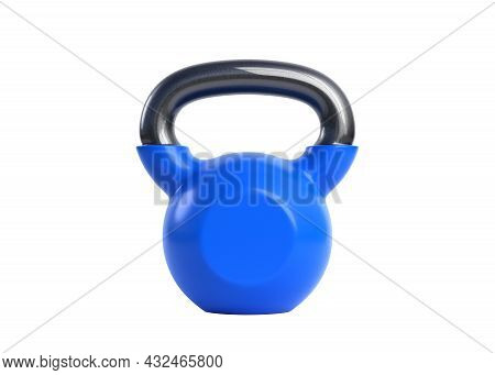 Blue Kettlebell Over White Background. Heavy Weights. Gym And Fitness Equipment. Workout Tools. Musc