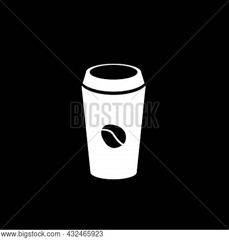 Coffee Cup Icon On Black Background. Graphic Elements. Trendy Flat Isolated Symbol, Sign For: Illust