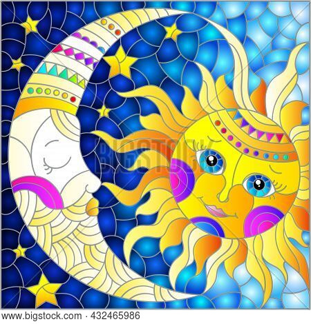Illustration In The Style Of A Stained Glass Window With A Cute Sun And Moon On A Blue Sky Backgroun