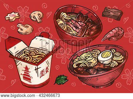 Asian Cuisine Illustration. Hand Drawn Sketch. Noodle, Ramen, Pad Thai. Street Food Japanese, Chines