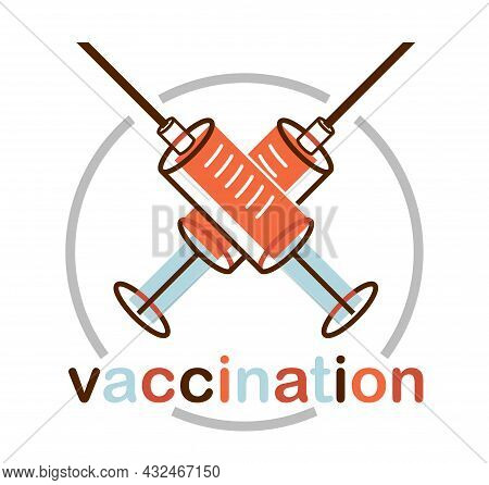 Vaccination Theme Vector Illustration Of A Syringe Isolated Over White, Epidemic Or Pandemic Coronav