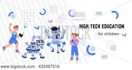High Tech And Robotics Education For Children. Website Banner With School Children Programming Robot