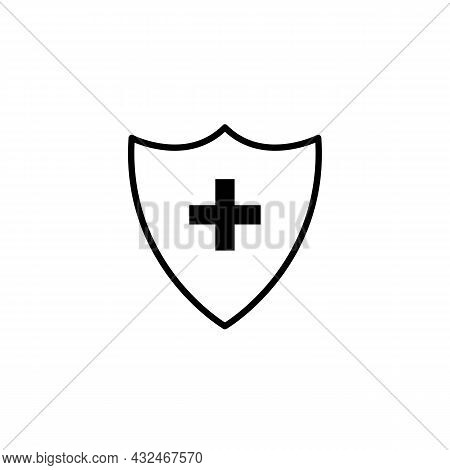 Plus Or Cross On The Shield Black Line Icon, A Symbol Of Medicine, Immunity And Protection Of The Pc