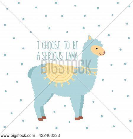 Cute Serious Lama. Baby Animal Concept Illustration For Nursery, Vector Illustration
