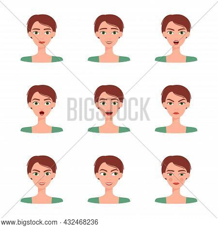 Set Of Emotions Of Beautiful Girl. Collection Of Different Female Emotions, Vector Illustration
