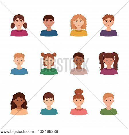 Set Of Children Avatars. Collection Of Portreits Of Boys And Girls With Different Skin Colors, Vecto