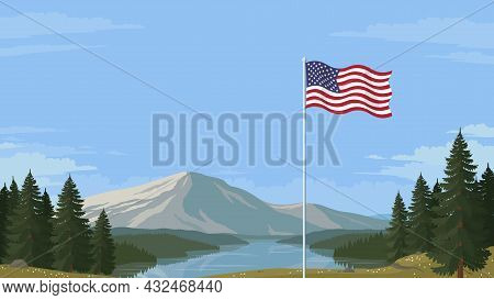 Detailed Flat Vector Illustration Of A Flying Flag Of The United States Of America In Front Of A Sce