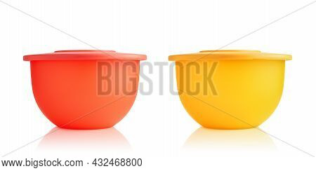Plastic Container. Yellow And Red Plastic Bowls Isolated On White Background. Food Containers. Prono