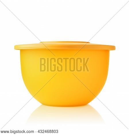 Plastic Container. Plastic Bowl Of Yellow Color Isolated On White Background. Food Container. Pronou