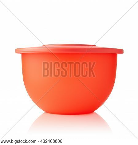 Plastic Container. Plastic Bowl Of Red Color Isolated On White Background. Food Container. Pronounce