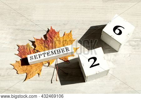 Calendar For September 26 : The Name Of The Month Of September In English, Cubes With The Number 26,