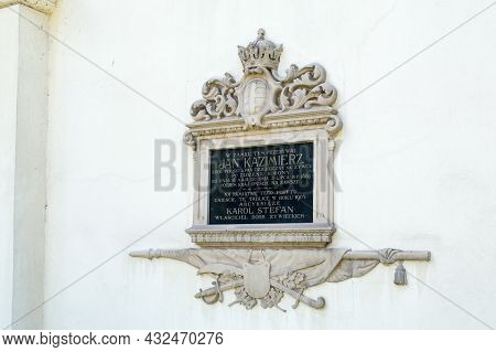 Zywiec, Poland - June 6, 2021: Plaque Commemorating The Castle Where Jan Kazimierz Stayed.