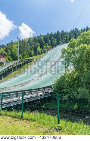 Szczyrk, Poland - June 6, 2021: Beskid Olympians Skalite Ski Jumping Hill In The Summer Time.