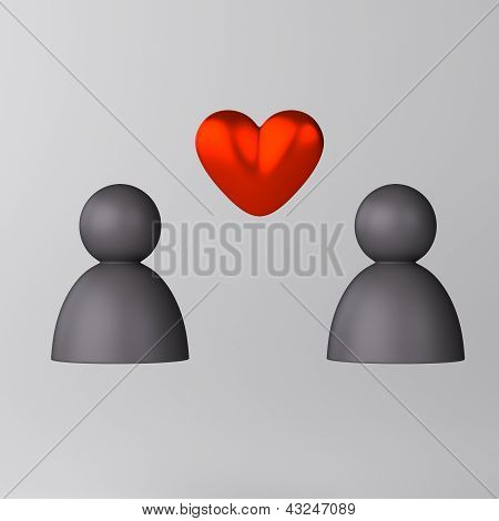 Romance between two people icon