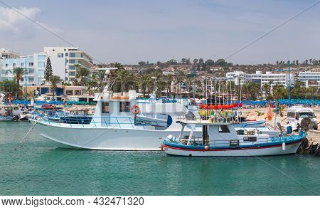 Ayia Napa, Cyprus - June 12, 2018: Fishing Boats Are Moored In Agia Napa Port