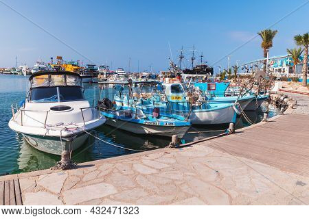 Ayia Napa, Cyprus - June 12, 2018: Colorful Pleasure And Fishing Boats Are Moored In Agia Napa Marin