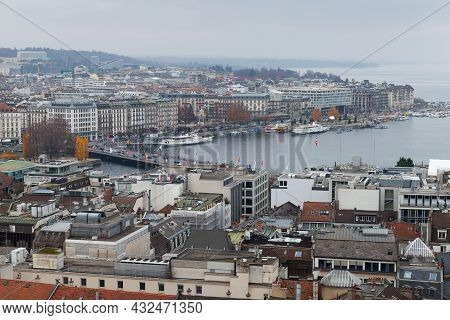 Geneva, Switzerland - November 26, 2016: Cityscape Of Geneva Central District And Geneva Lake