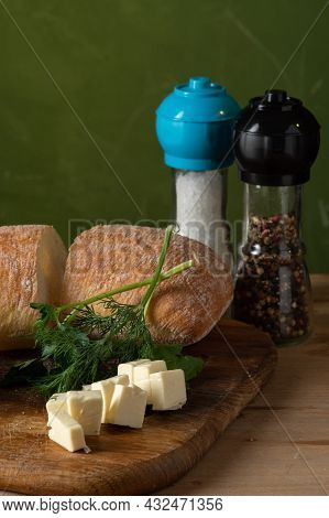 Sliced Cheese And Bread. Bread With Dill And Cheese. Ciabatta With Spices. Vertical Frame.