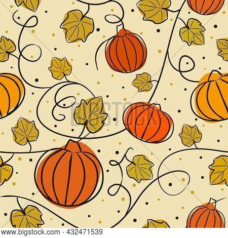 Seamless Harvest Pattern With Pumpkins And Leaves. Autumn Background In Orange, Green Tones. Hand Dr