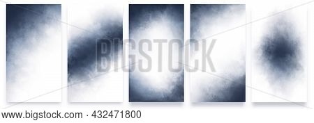 Set Of Universal Watercolor Backgrounds Of Dark Blue Color For The Design Of Postcards, Banners, Inv