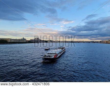 The Tourist Boat In St. Petersburg. Boat Trip In St. Petersburg