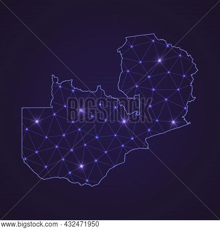Digital Network Map Of Zambia. Abstract Connect Line And Dot On Dark Background