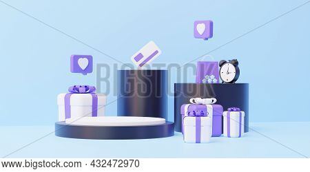 Online Store. Podium With Gifts. The Concept Of Sales For The Placement Of Any Goods. 3d Rendering.