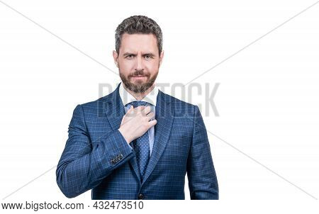 Middle-aged Manager Fix Necktie Wearing Elegant Blue Suit In Formal Fashion Style, Workwear.