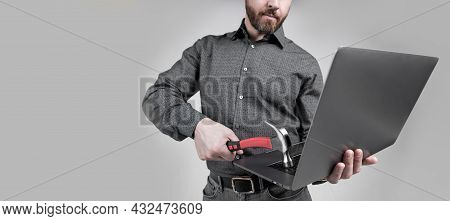 Unshaven Man Cropped View Break Laptop Hitting Computer With Hammer Grey Background, Hardware Damage