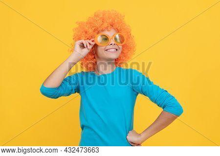 Happy Teen Girl In Fancy Clown Wig Wear Funny Party Glasses, April Fool Day