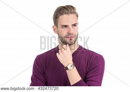 Handsome Guy With Unshaven Face Hair Look Thoughtful In Casual Style Isolated On White, Serious