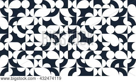 Geometric Abstract Seamless Pattern With Black And White Simple Elements Of Geometry, Wallpaper Back