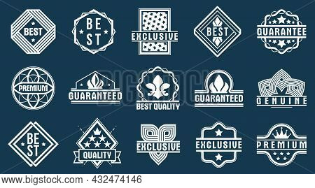Premium Best Quality Vector Emblems Set, Black And White Badges And Logos Collection For Different P