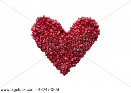 Pebble Stone Red Heart Laid Out With Small Decorative Stones On White Background. Concept Of Love An
