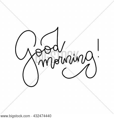 Good Morning - Vector Line Calligraphy Test. Linear Hand Drawn Illustration Of Wish Good Morning. Ty