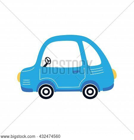 Blue Cartoon Auto Isolated On White Background, Card With Funny Car, Vector Illustration