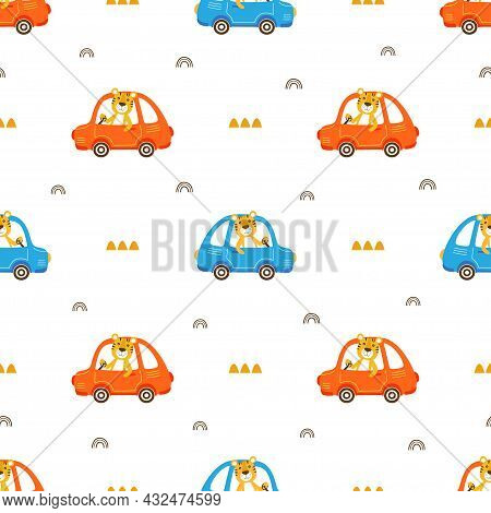 Driver Tiger Seamless Pattern, Vector Illustration With Cute Driver Animal