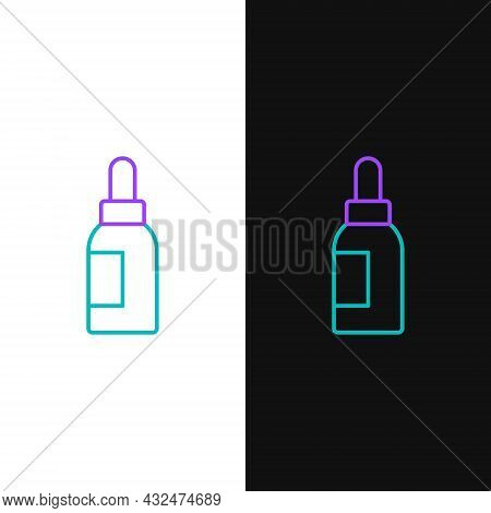Line Essential Oil Bottle Icon Isolated On White And Black Background. Organic Aromatherapy Essence.