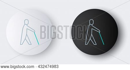 Line Blind Human Holding Stick Icon Isolated On Grey Background. Disabled Human With Blindness. Colo