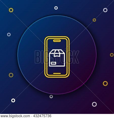 Line Mobile Smart Phone With App Delivery Tracking Icon Isolated On Blue Background. Parcel Tracking