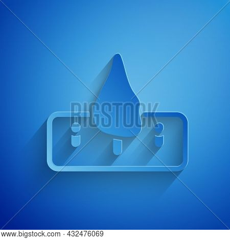 Paper Cut Deforestation Icon Isolated On Blue Background. Chopping Forest, Destruction Of Wood. Dang