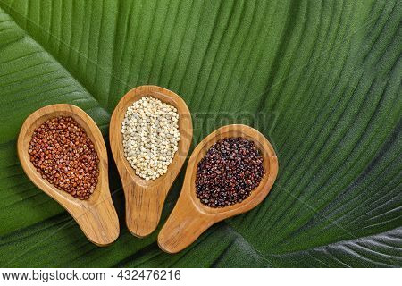 White, Black And Red Quinoa Seeds In Wooden Spoons - Chenopodium Quinoa