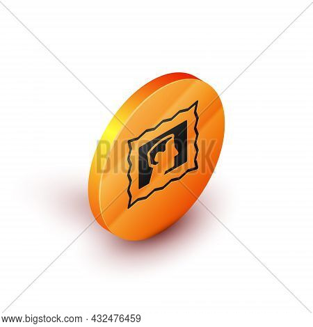 Isometric Postal Stamp Icon Isolated On White Background. Orange Circle Button. Vector