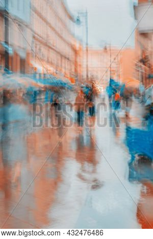 Rainy Evening. City Street, People Crowd, Abstract Colorful Background, Blur In Impressionism Style