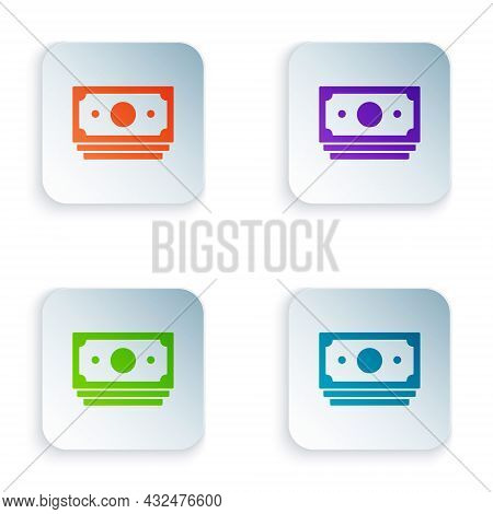 Color Stacks Paper Money Cash Icon Isolated On White Background. Money Banknotes Stacks. Bill Curren