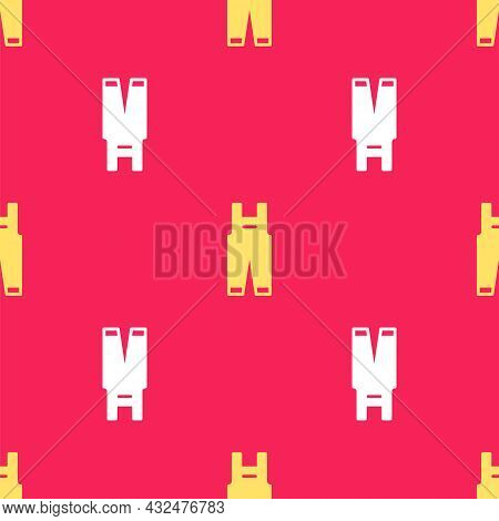 Yellow Work Overalls Icon Isolated Seamless Pattern On Red Background. Vector