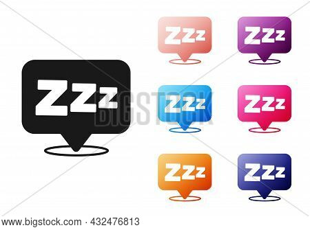 Black Sleepy Icon Isolated On White Background. Sleepy Zzz Black Talk Bubble. Set Icons Colorful. Ve