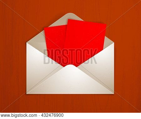 Postal Envelope With Blank Card Over Wooden Background Realistic Vector Paper Illustration, Graphic