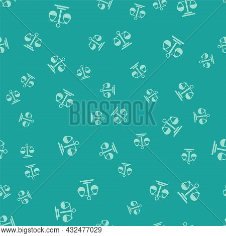 Green Scales Of Justice Icon Isolated Seamless Pattern On Green Background. Court Of Law Symbol. Bal