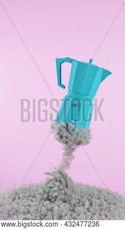 Coffee Maker Looking Up To The Sky To Start The Day With A Bang. Blue Coffee Maker On Pink Backgroun